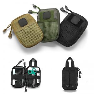 1Pc EDC Survival Waterproof Nylon Tactical Molle System Waist Bag Hanger Durable Outdoor Travel Medical Military First Aid Kit