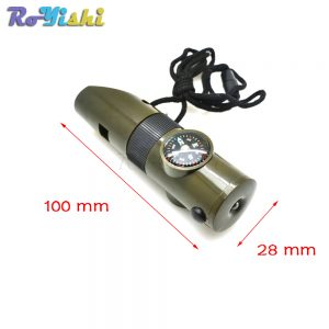1pcs 7 in 1 Multifunctional Military Survival Kit Magnifying Glass Whistle Compass Thermometer LED Light