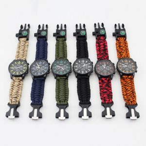 Sport Watch Outdoor Military wristwatch Waterproof Camping Survival Tool Hand-Woven Rope Compass Watch Gift For Men Luminous
